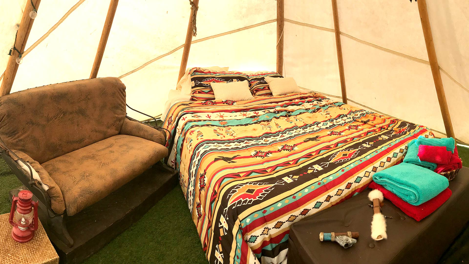 inside the tee pee tent