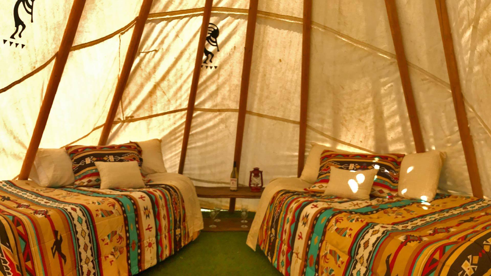 2 beds inside the tee pee