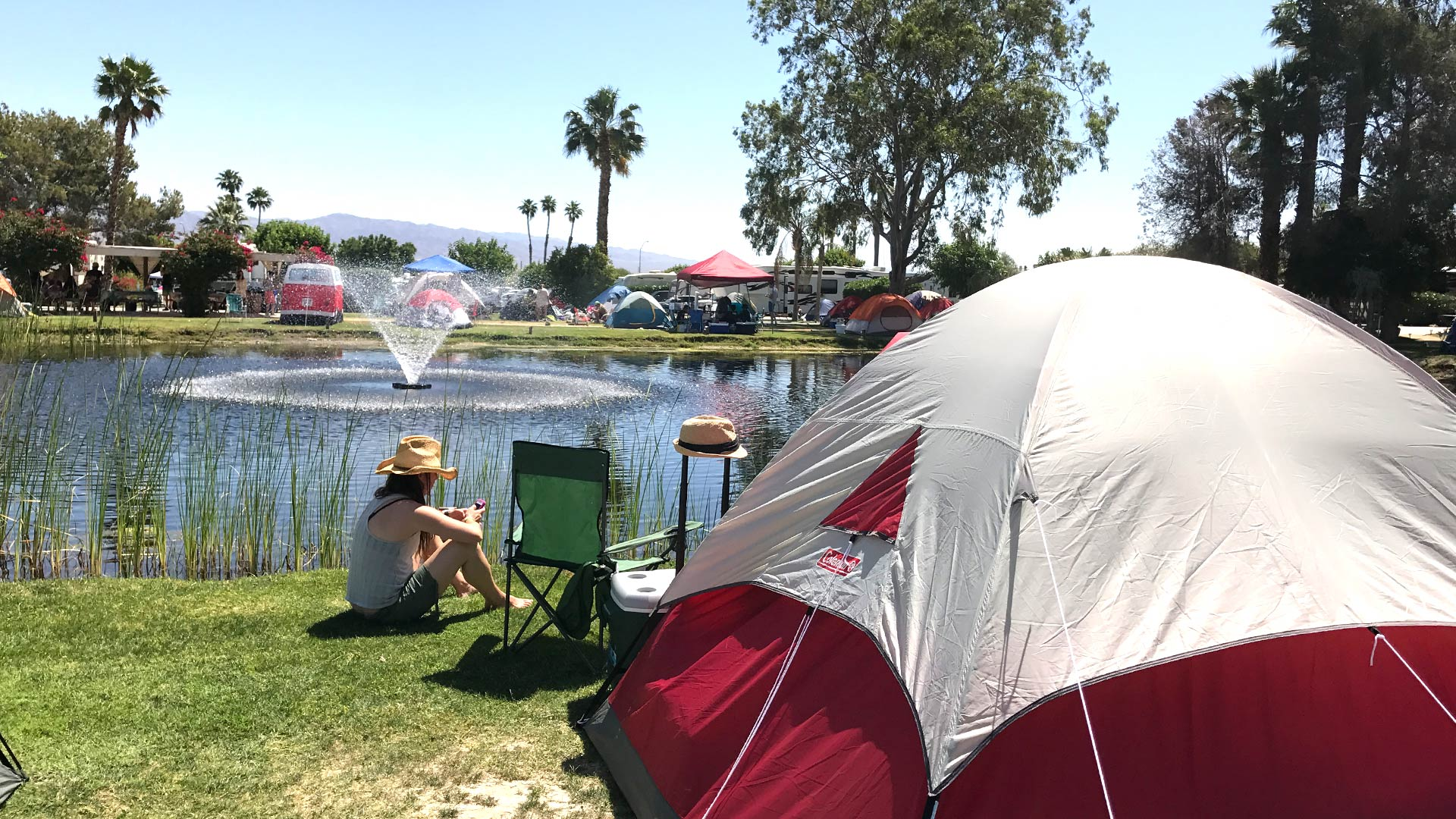 tent camping near the pond
