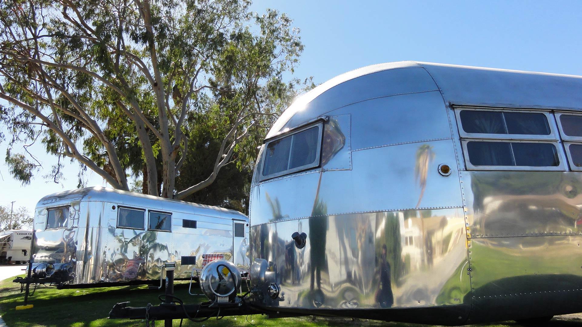 2 airstream vintage trailers